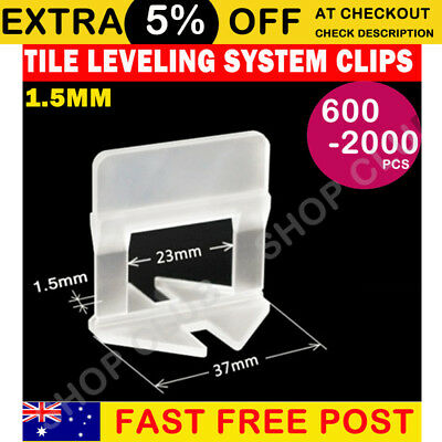 600/1000/2000x Tile Leveling System Clips Wall Floor Tiling Spacer Tool 1.5mm AU