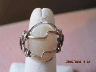 ARTISAN Handmade Ring Mother of Pearl  Elaborate Sterling Wire Wrap Beautiful
