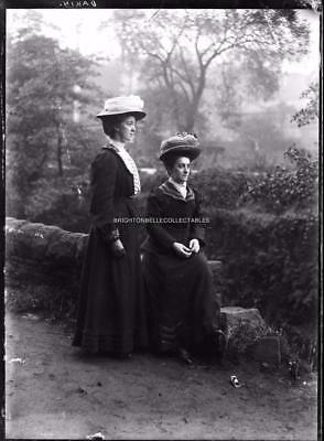 Victorian Fashion Social History Ladies Hats Dresses Outdoors Glass Negative