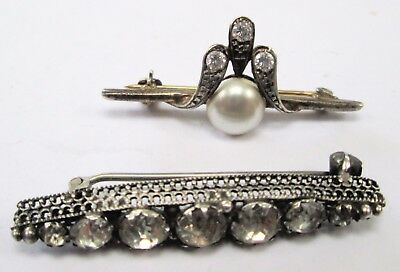 Two fine vintage sterling silver & diamond paste brooches