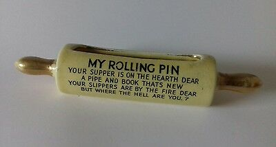 """Vintage Kitsch 1950s Ceramic Rolling Pin Posy Pot With 'Your Supper..."""" Rhyme"""