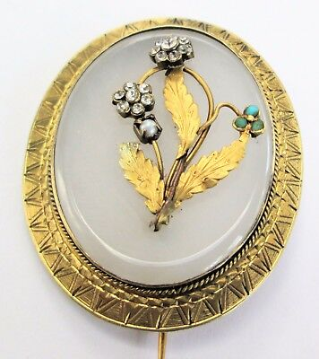 Antique gold metal, chalcedony, diamond paste & turquoise forget-me-not brooch