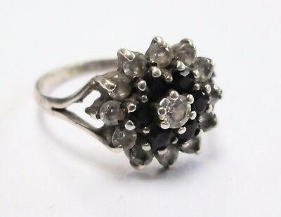 Fine quality vintage sterling silver, sapphire & c.z cluster ring
