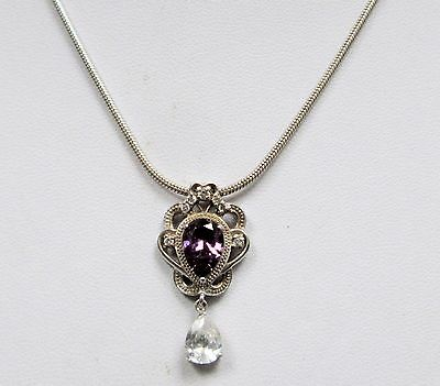 Gorgeous sterling silver, diamond paste & amethyst pendant + sterling chain
