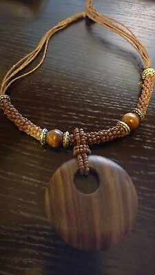 Chunky Mid-Brown Wooden Necklace With Beads. 48Cm.