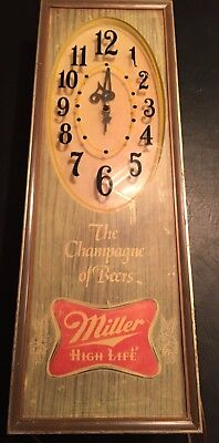 Vintage Miller High Life Champagne of Beers Lighted Back Bar Sign Clock WORKS!