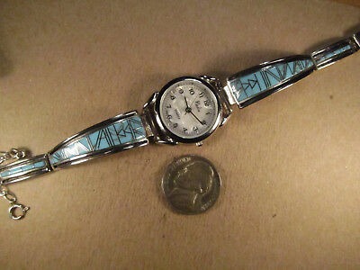 Nadia MOP Quartz Wrist Watch w/ Sterling Silver & Turquoise Band, Unsigned, 35g