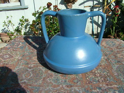 Catlina Island Pottery Blue Glaze Red Clay Double Handle Squatty Vase