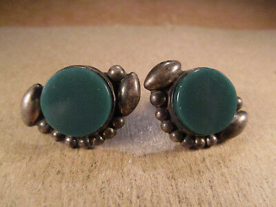 Vtg Sterling Silver & Green Stone Screwback Earrings, Mexico Signed RRP, 11.1g