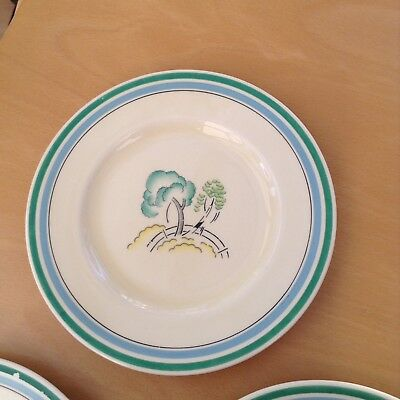 """Set Of 3 Art Deco Royal Doulton Congress """"Clarice Cliffe"""" Style Side Plates"""