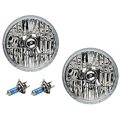"76-15 Jeep Wrangler 7"" Crystal Headlight Halogen White Light Bulb Headlamp Pair"