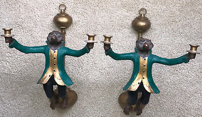 Rare Authentic Pair Of Bill Huebbe Monkey Wall Sconces Painted Green Coats
