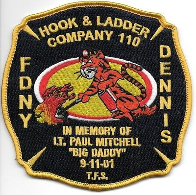 """FDNY  Hook & Ladder 110  fire department patch  """"Big Daddy"""" Memorial Tribute"""