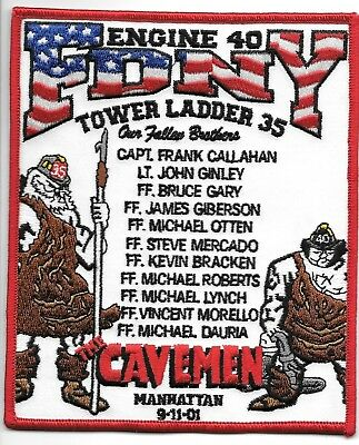 FDNY  Engine 40 / Tower Ladder 35  fire department patch  TRIBUTE - Cavemen