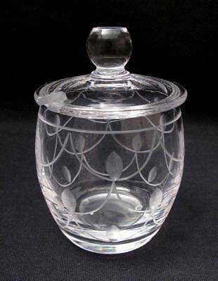 Quality Vintage Stuart England Cut Crystal Tamara Lidded Sugar Bowl Pot Art Deco