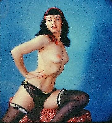 3D Stereo Slide of Bettie Page Topless and Wearing Black Stockings