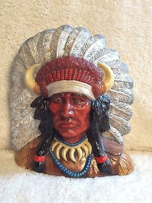 Indian Head Display Native American Plaster Sculpture 1976