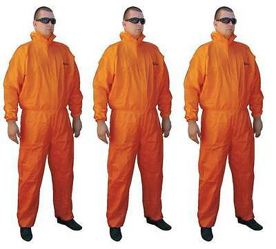 Asbestos Removal Rated Orange Disposable Overalls | Type 5/6 | 3 Pair Bundle