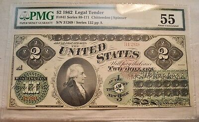 1862 $2 PMG AU 55 Legal Tender Note, Fr. 41 High Grade United States Two Dollar