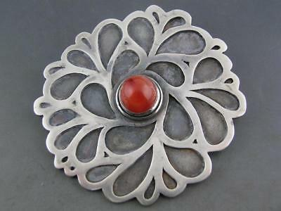 Vintage Sterling Silver Lg Pin / Brooch w/ clip NAVAJO ? accented w/ stone JUNI