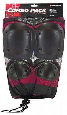 187 Combo Pack - Knee And Elbow Pads - Size Small To Medium - Red