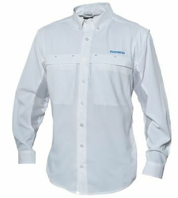 Shimano Long Sleeve Vented Fishing Shirt Upf30+ White Xxxl New