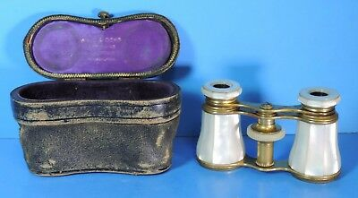 Antique 1800's Lemaire Wall & Ochs Mother of Pearl Opera Glasses w/ Leather Case