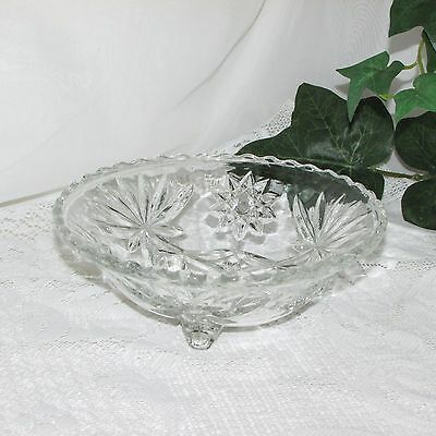 Vintage Anchor Hocking Glass Prescut 3 Footed Bowl Clear Star Of David Eapg Dish