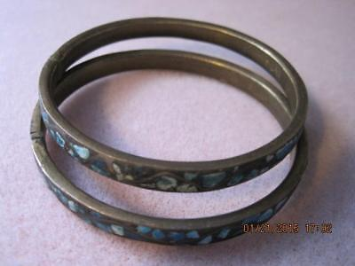 TURQUOISE GEMSTONE Inlay Antique INDIA Brass Bangle Bracelets Set of 2