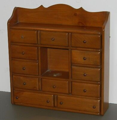 VTG WALL HANGING or COUNTER APOTHECARY SPICE DRAWER CABINET 12 DRAWERS 16 X 15