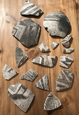 Anasazi Pottery Shards, Black On White