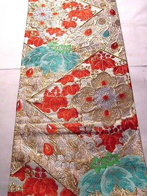 """Turquoise Gold and Silver Embroidered  Vtg OBI Silk Fabric Japan 25"""" ~NR 8373"""