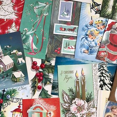 Lot Of 22 1950's Vintage Christmas Greeting Cards Mid Century Church Carolers