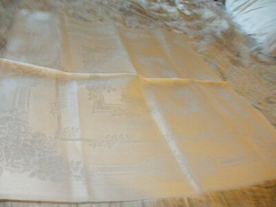 12 Vintage Pure Irish Linen Napkins  Rose & Vine Pattern 22 X 20 1/2 Inch Damask