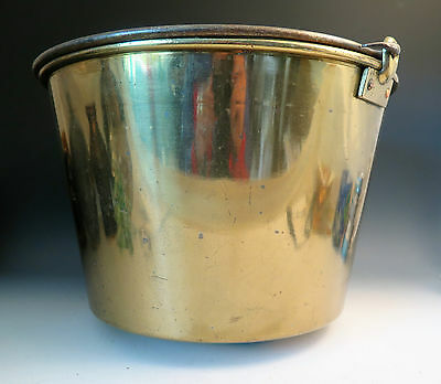 Antique Spun Brass Bucket Pail Forged Iron Hearth Storage