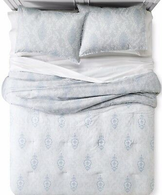 Shabby Chic Printed Damask Light Blue Grey & White King 3 Piece Comforter Set