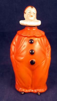 Vintage porcelain Pierrot Clown German Figural  Art Deco Perfume Bottle
