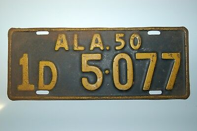 Vintage 1950 Alabama License Plate Automobile Tag - Jefferson County