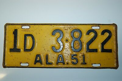 Vintage 1951 Alabama License Plate Automobile Tag - Jefferson County