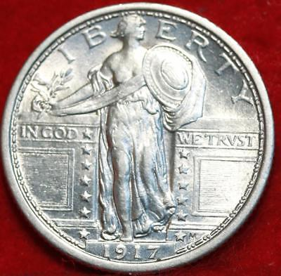 Uncirculated 1917 Type I Phil Mint Silver Standing Liberty Quarter Free S/H