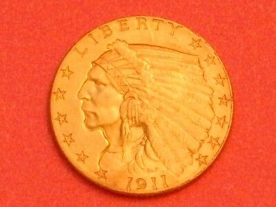 1911 $2.50 Gold Indian Quarter Eagle, 2 and 1/2, Gorgeous Coin, AU
