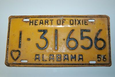 Vintage 1956 Alabama License Plate Automobile Tag - Jefferson County