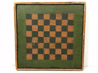 Rare Small 19th C. Paint Decorated Double Sided Gameboard Game Board, NR