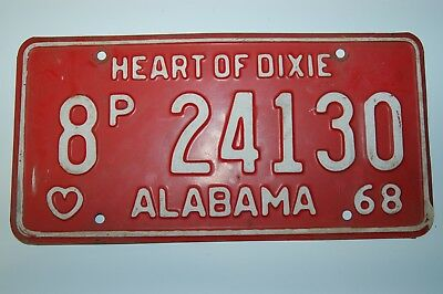 Vintage 1968 Alabama License Plate Automobile Tag - Blount County