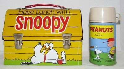 1968 Have Lunch With Snoopy Metal Lunch Box with Thermos, STORE STOCK