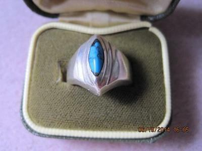 Stunning STERLING SILVER Turquoise Front Ladies Ring 10 Grams Size 6