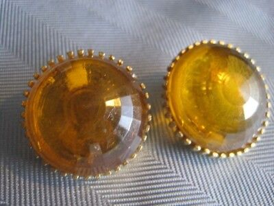 Retro LEMON COUGH DROP Faceted Lucite Clip On Earrings Signed STAR Beautiful