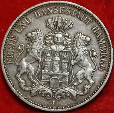 1913 Germany 3 Marks Silver Foreign Coin Free S/H