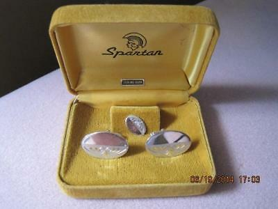 SPARTAN Sterling Silver Cufflinks & Pin in Orig. Box Vintage New Condition