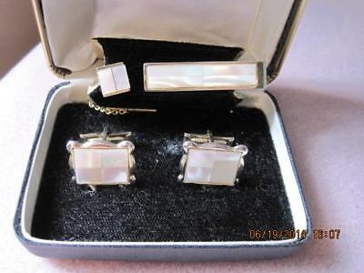 Very Handsome Vtg Rectangular MOTHER OF PEARL Cufflinks Set